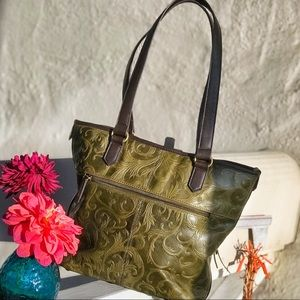 Ornate Green Leather Snap top Tote w/ Keychain